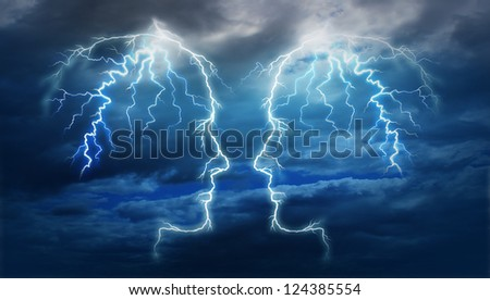Power meeting and team ideas as a group of two electric lightning bolt strikes in the shape of a human head illuminated on a storm cloud night sky as an intelligent partnership for research success..