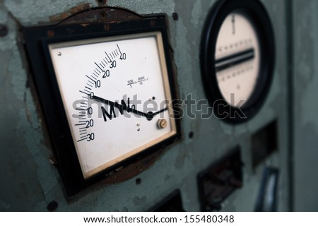power meter in an abandoned factory - stock photo