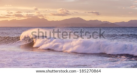 Power of big waves in easter shore of Mallorca, Balearic Islands, Spain. November 2013 - stock photo