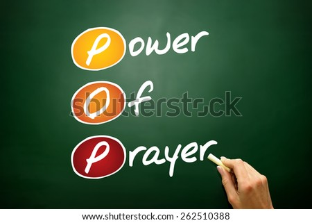 Power Of Prayer (POP), concept acronym, business concept on blackboard - stock photo