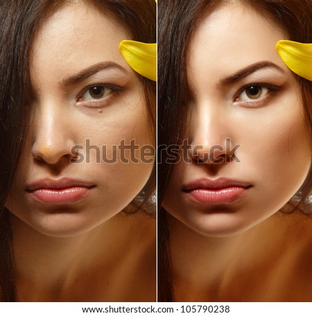 Power of retouch - face of beautiful young woman before and after - stock photo