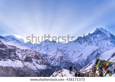 power of sunlight at annapurna base camp