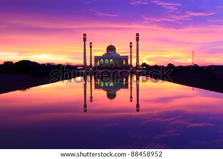 Power of Sunset over Central Mosque  Songkhla,Thailand