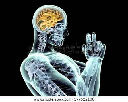 Power of the mind.  3D rendered illustration. Isolated on black. - stock photo