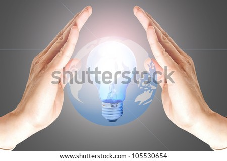 Power of thinking with your hand and your brain ,think your the future and keep your Big Think - stock photo
