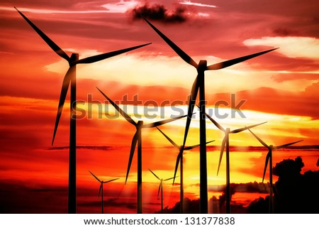 Power on the red sky - stock photo