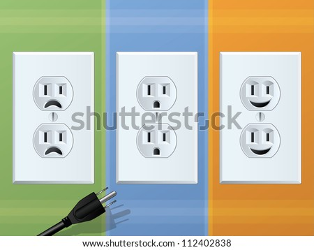 Power Outlet/Happy and Sad Receptacles - stock photo