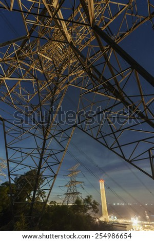 Power Plant and Electric Pylon - stock photo