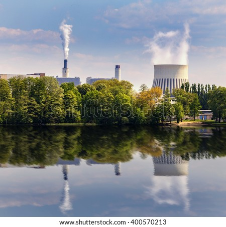 power plant at a river