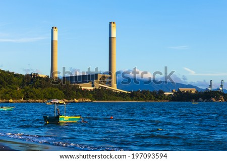 Power plant at day time - stock photo