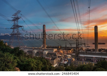 Power Plant at dusk - stock photo