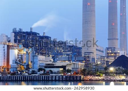 power plant at night, hong kong - stock photo