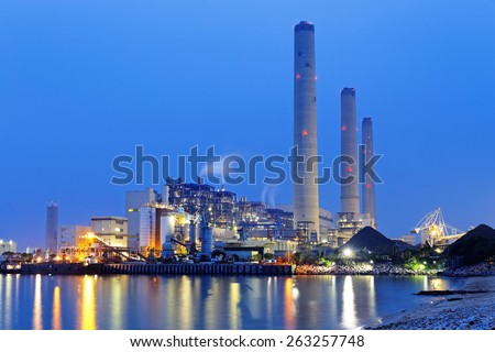 power plant at night, hong kong