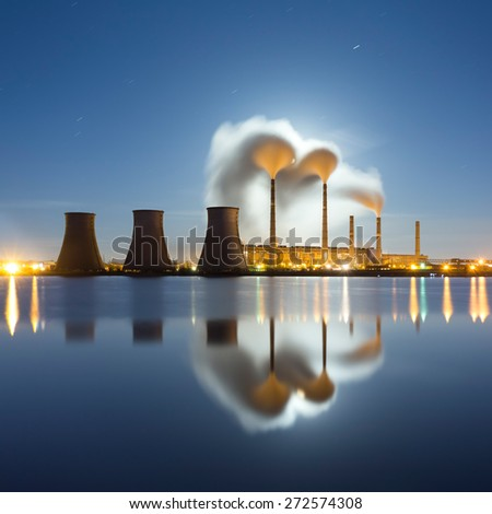 Power plant at night. Industrial landscape. - stock photo