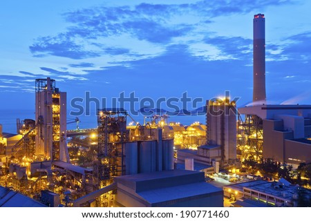 Power plant at sunset in Hong Kong - stock photo