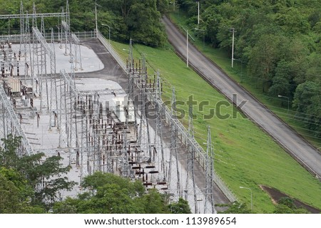 Power plant at the dam - stock photo