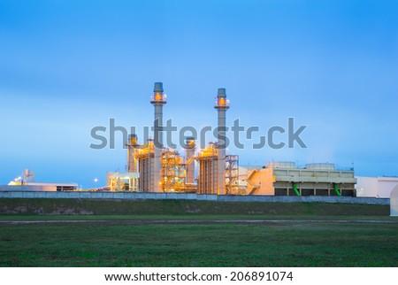 Power plant at twilight. - stock photo