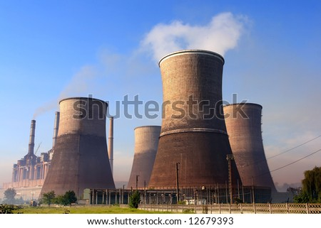 Power plant emissions - stock photo
