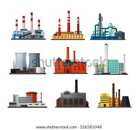 Power plant icons in flat style. Nuclear power plant and chemical plant, old factory and modern plant. Rasterized version   - stock photo