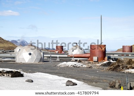 power plant in Iceland - stock photo