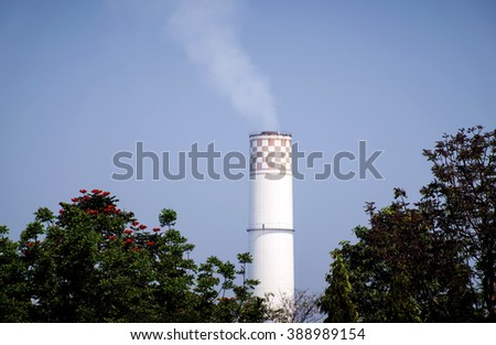 power plant,Industrial power plant with smokestack  - stock photo