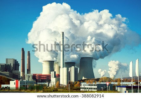 power plant on a sunny summer day - stock photo