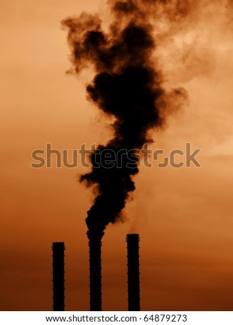 Power plant pipes with black smoke with high contrast