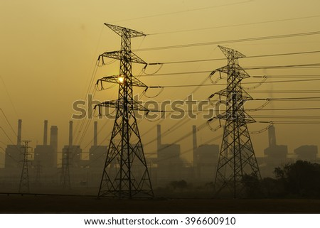 Power plant powerhouse electric industry - stock photo