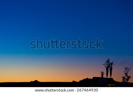Power Plant smoggy, sunset - stock photo