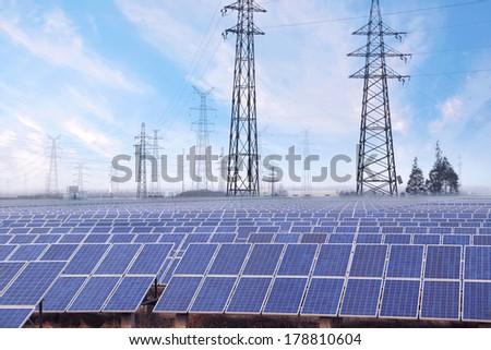 Power plant using renewable solar energy - stock photo