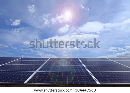 Power plant using renewable solar energy on blue sky cloud with sun.