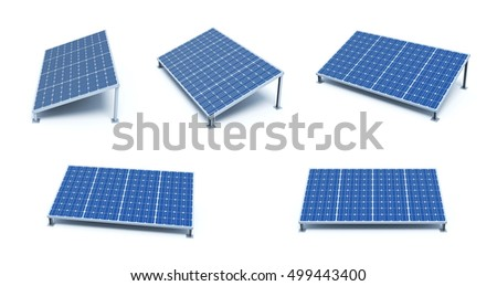 Power plant using renewable solar energy.  Solar Panels. 3D illustration.