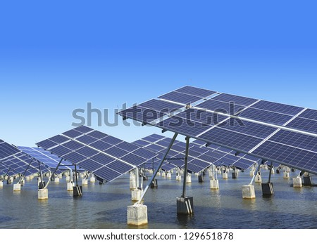Power plant using renewable solar energy with.(Have pen path) - stock photo