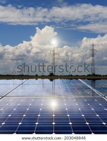 Power plant using renewable solar energy with power line - stock photo
