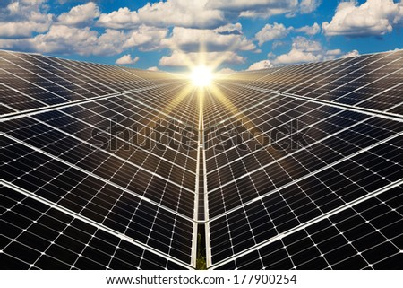 Power plant using renewable solar energy with sun - concept - stock photo