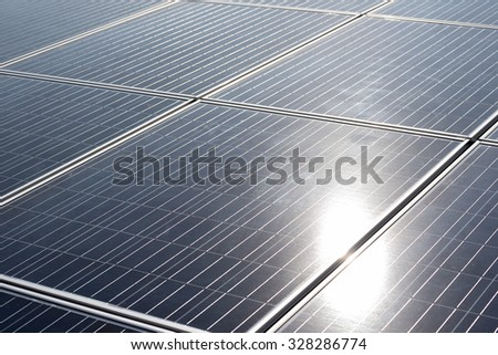 Power plant using renewable solar energy with sun - Nature energy concept - stock photo
