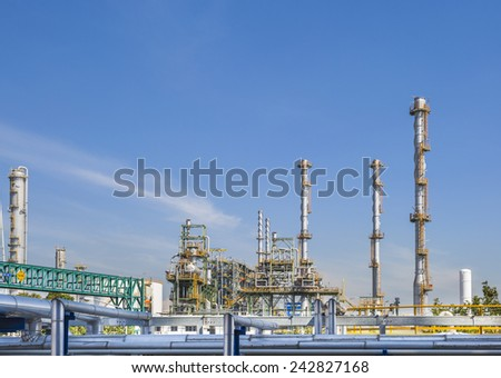 Power plant with sky - stock photo