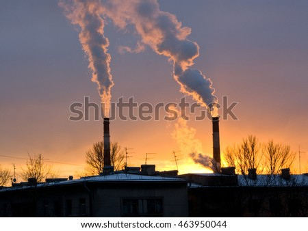 Power plant with smoke and dirty orange air Saint-Petersburg