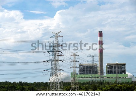 Power plants in the blue sky white clouds the sky background