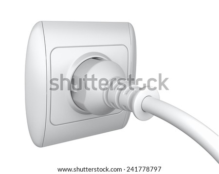 Power plug and a socket to connect electrical equipment. 3d illustration
