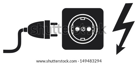 power plug, power outlet and lightning symbol (power cords, plug cable, electric outlet) - stock photo