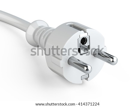Power plug with grounding and electric cable. 3d illustration on a white background - stock photo