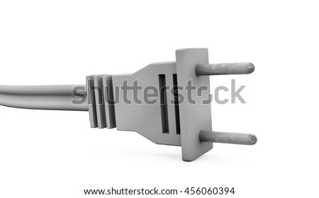 Power plug with grounding and electric cable. 3d illustration on a white background