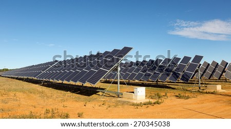 Power polar panel system at desert  - stock photo