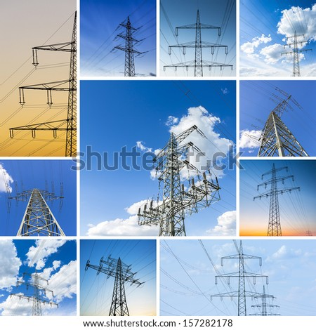 Power pole  electricity with clouds and sunset set collection - stock photo