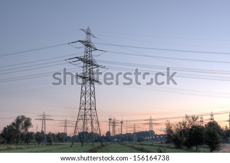 power poles, wind turbines, pasture (HDRI)