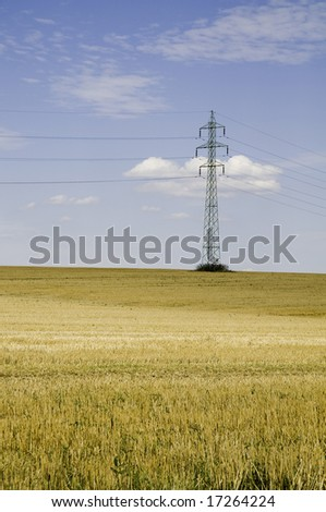 Power pylon in a field