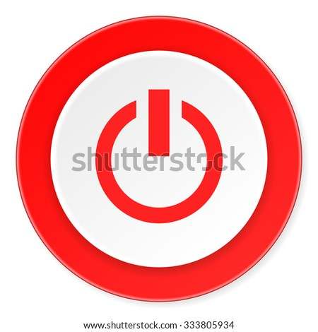 power red circle 3d modern design flat icon on white background