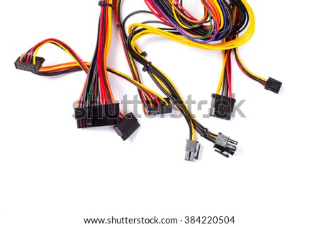 power source wires for computer on white - stock photo