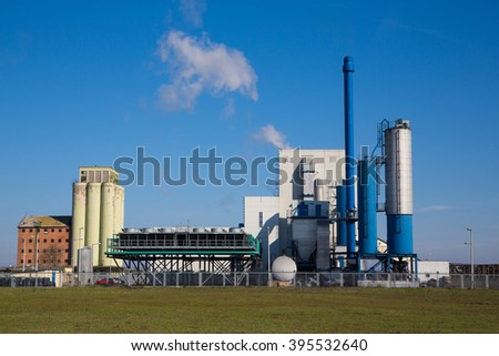 power station and nature - stock photo